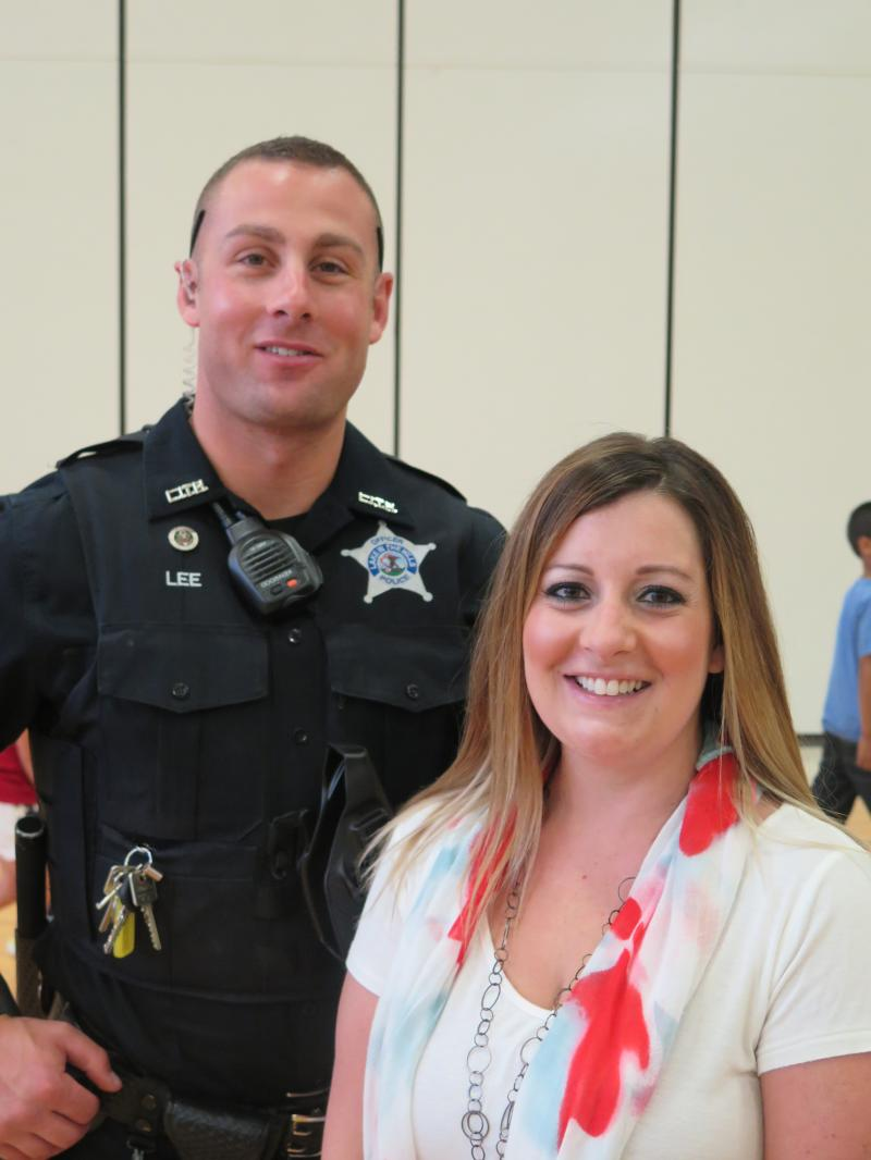 Mrs. Haas, a first grade teacher, and her brother a LITH Police Officer.
